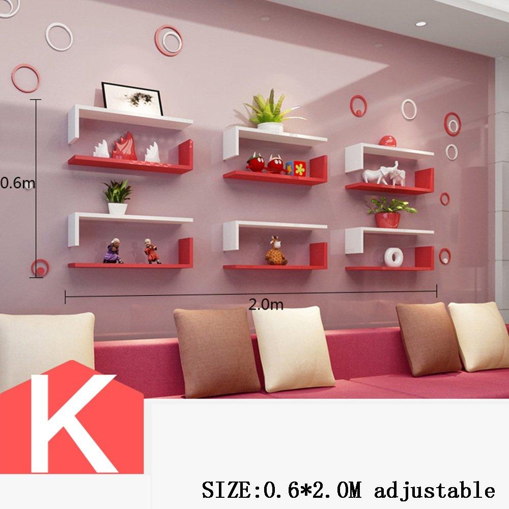 Wand Bücherregal Wohnzimmer TV Wandschmuck Zimmer Schlafzimmer Wand kreatives Gitter Wanddekoration (Mehrfache Arten vorhanden) ( farbe : K )