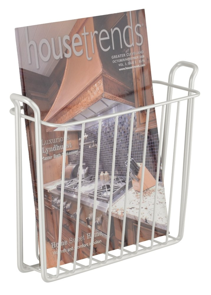 Den InterDesign Classico Metal Wall Mount Magazine Rack Bedroom 10.5 x 3.5 x 8.5 Office Newspaper and Book Holder for Bathroom Chrome