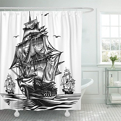 Emvency Shower Curtain With Hook Polyester Fabric Navy Ship Ship2 Engraving Pirate Boat Old Frigate Retro Sea Nautical Waterproof Adjustable Hook Sets 66 x 72 For -