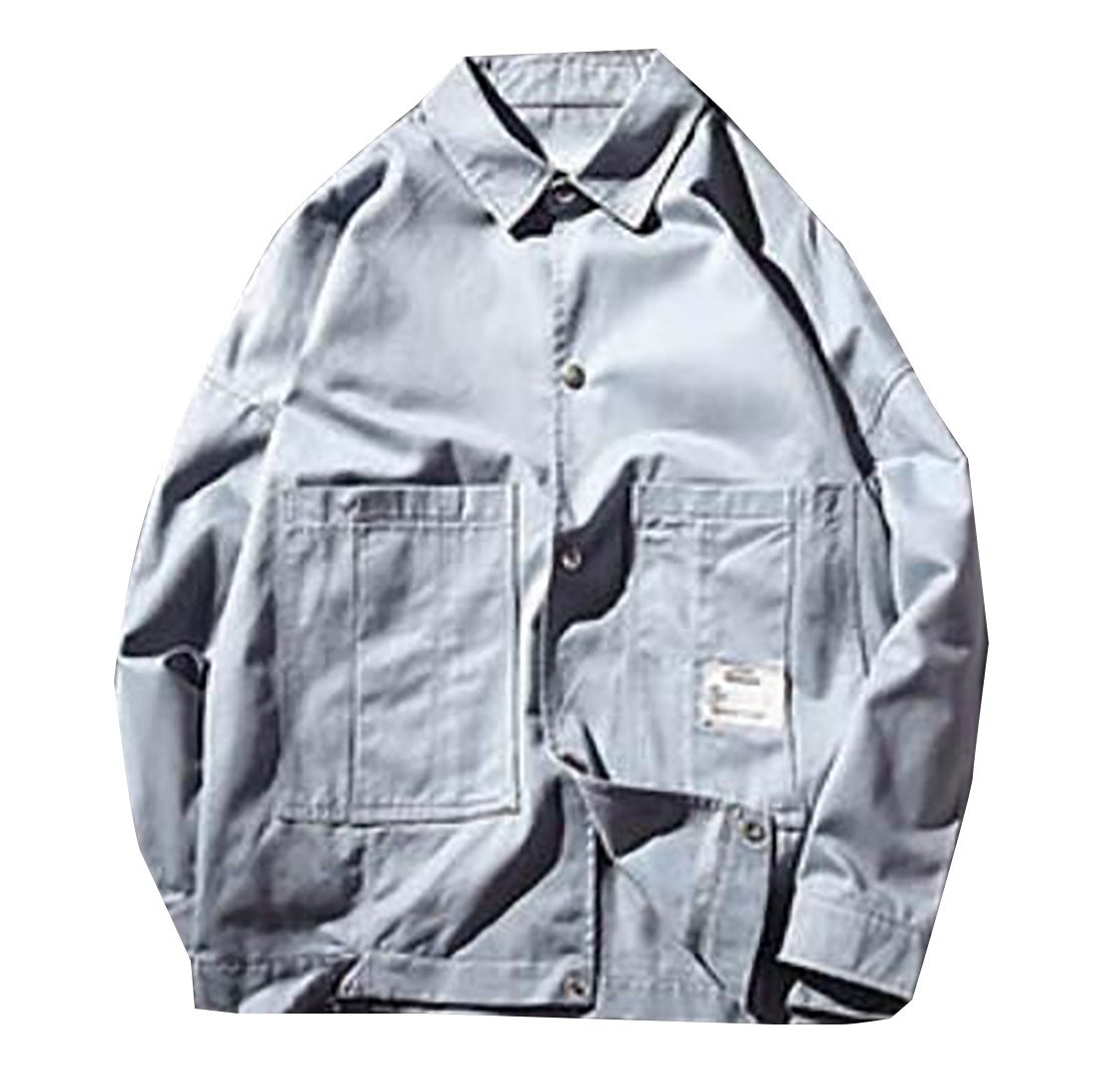 Pandapang Mens Casual Lightweight Button Up Pockets Outdoor Jacket Coats Blue X-Large by Pandapang
