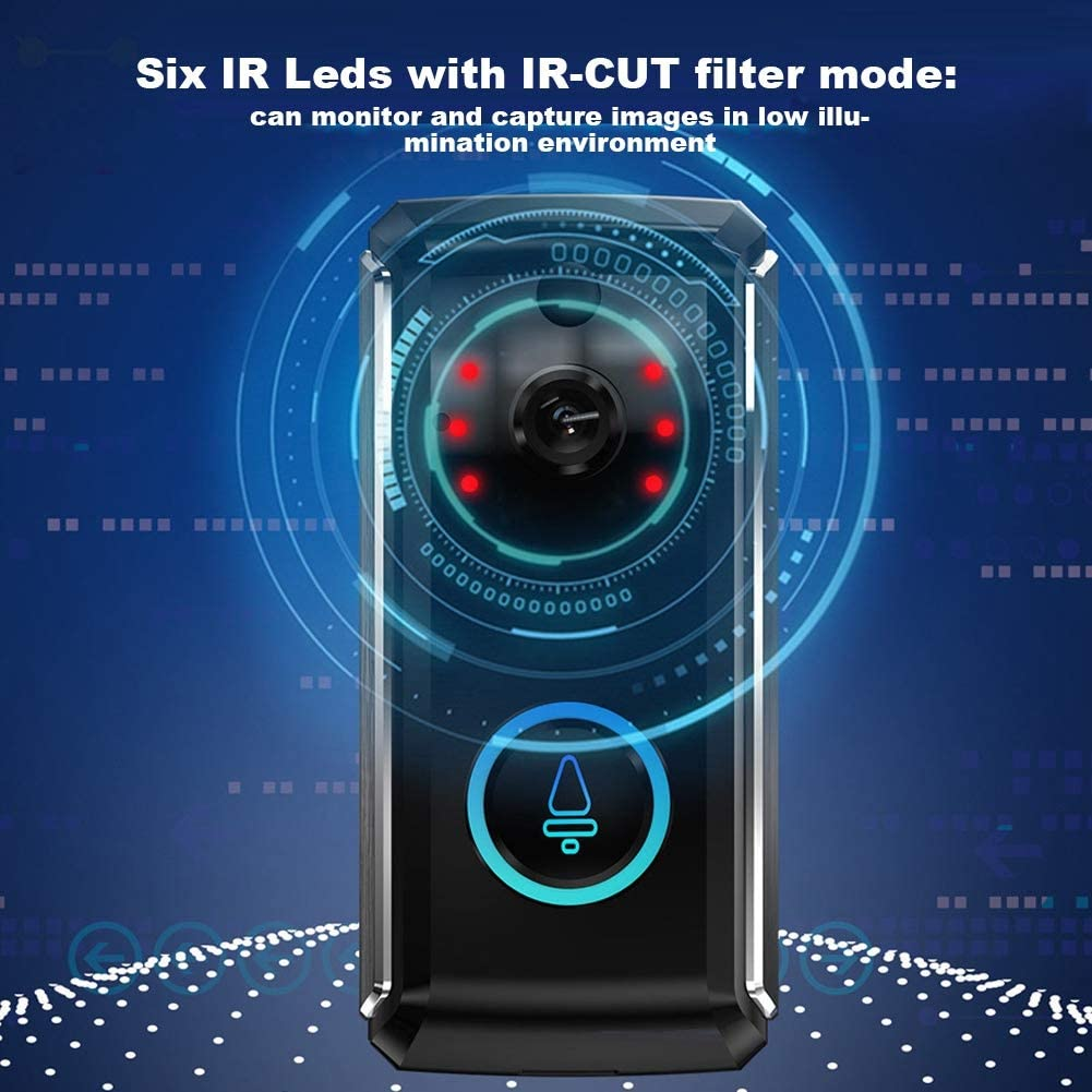 720P Smart Video Timbre HD C/ámara de Seguridad inal/ámbrica para el hogar Sistema de intercomunicaci/ón con Video Remoto en Tiempo Real Conversaci/ón bidireccional PIR Detecci/ón de Movimiento IR Cut