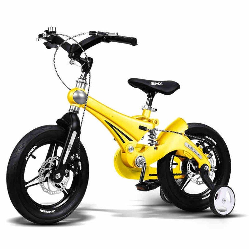 YANGFEI 子ども用自転車 子供用自転車ベビーカーベビーカーマウンテンバイク子供用自転車マグネシウム合金サスペンションシステム/デュアルディスクブレーキ12インチ、14インチ、16インチ 212歳 B07DWQFR7K 16 inch|イエロー いえろ゜ イエロー いえろ゜ 16 inch