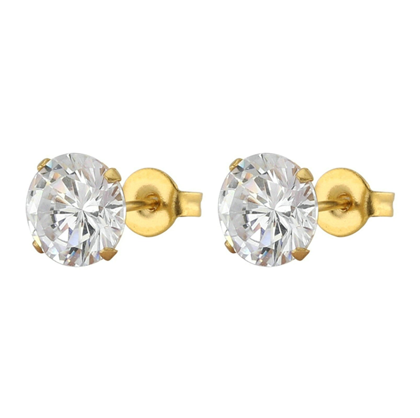 Aooaz 3-8MM Stainless Steel Gold Plated Earrings with CZ Zircon Ear Stud Women Earrings Gothic
