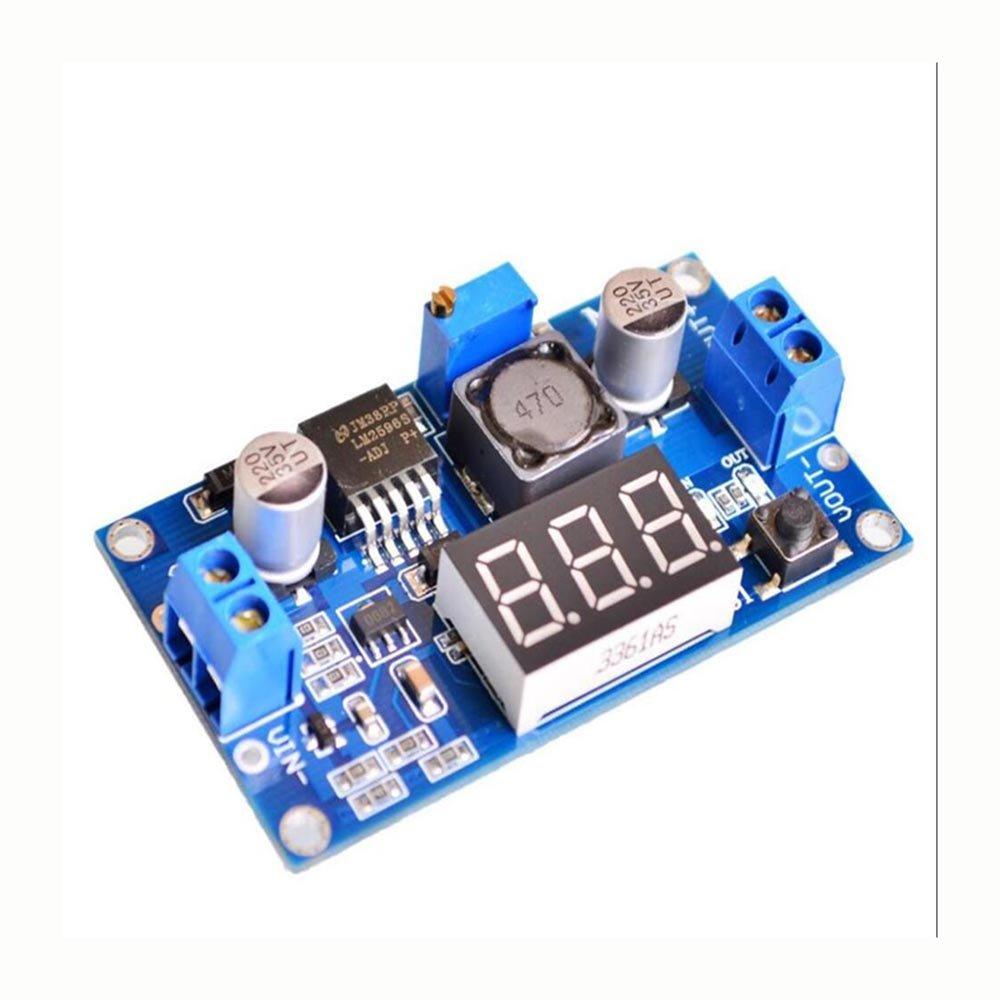 WKELECTRONDE-2PC TENSTAR Robot LM2596 Buck 3A DC-DC Voltaje Ajustable Módulo de Potencia descendente + Voltímetro LED Azul: Amazon.es: Electrónica