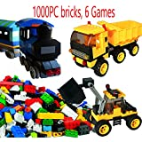 DreamBuilderToy 1000 Pieces Building Bricks Fun Set, With A 10 dots x 20 dots baseplate, Wheels, Roof, Windows, Fence to build multiples games, Compatible to All Major Brands …