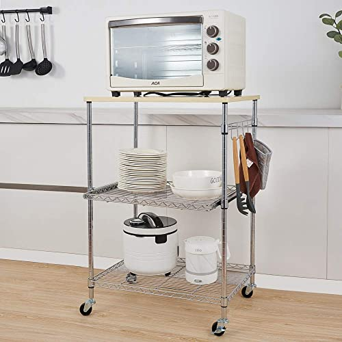 Henf 3-Tier Rolling Kitchen Microwave Cart