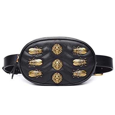 3e6df0d2300fb5 Waist Bag Women Rivets Leather Chest Belt Fanny Pack Bags Casual Fashion  Handbag Red Black (