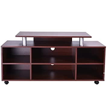 Exceptionnel Wheeled TV Stand Entertainment Center Media Console Storage Cabinet  Furniture   Spacious Open Center Shelves Kkeep