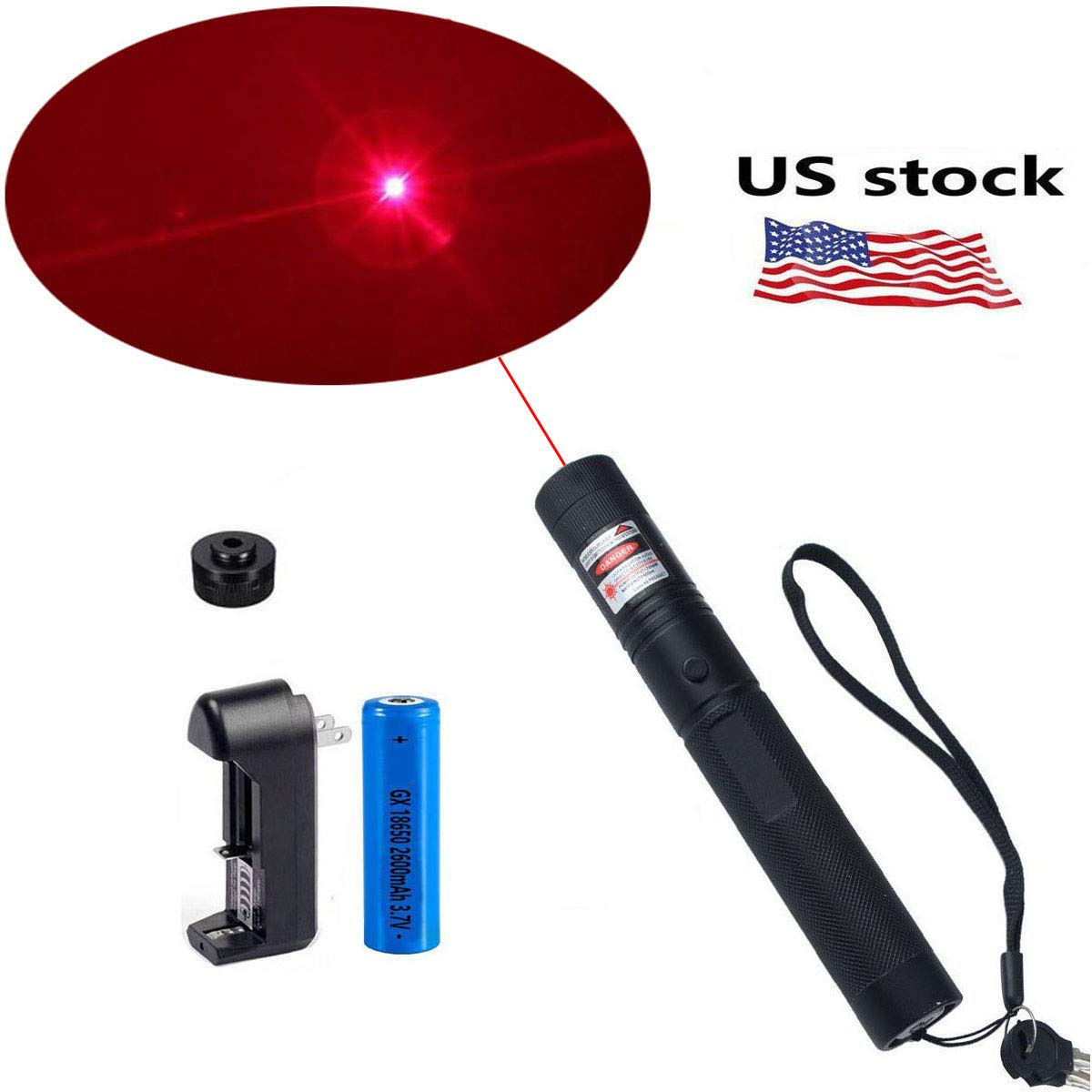 Jemine Tactical Hunting Rifle Scope Sight Red Laser Pen Demo Remote Pen Pointer Projector Travel Outdoor Flashlight LED Interactive Baton Funny Laser Toy