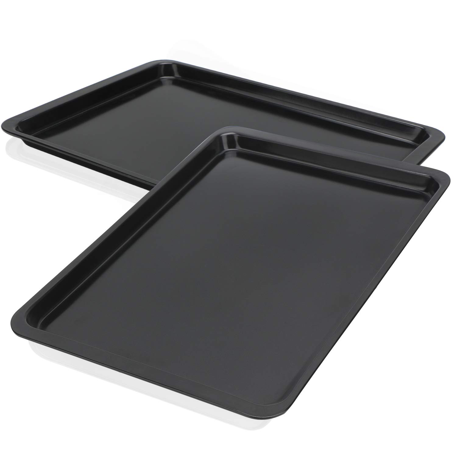 Baking Sheet 14 Inch, Beasea 2 Pack Nonstick Carbon Steel Cookie Sheet Pan Oven Baking Pans Baking Tray Rimmed Baking Pan - Black