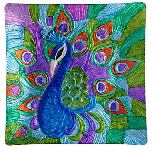 Fused Glass Peacock Square Plate