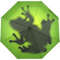 SUSINO Green Frog Shadow Compact Travel Umbrella Automatic Open Close Windproof Folding Mini Umbrella with Graphic…