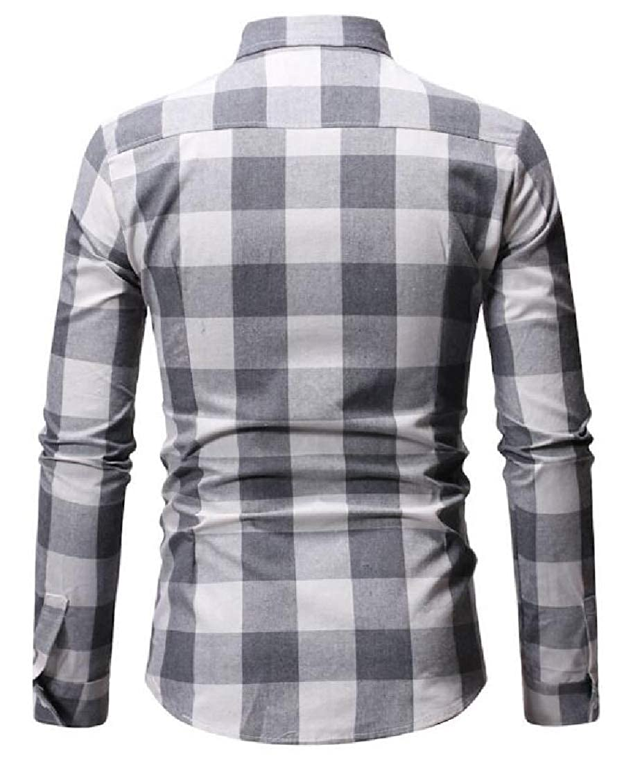 Alion Mens Casual Cotton Button Down Dress Shirt Long Sleeve Plaid Tops