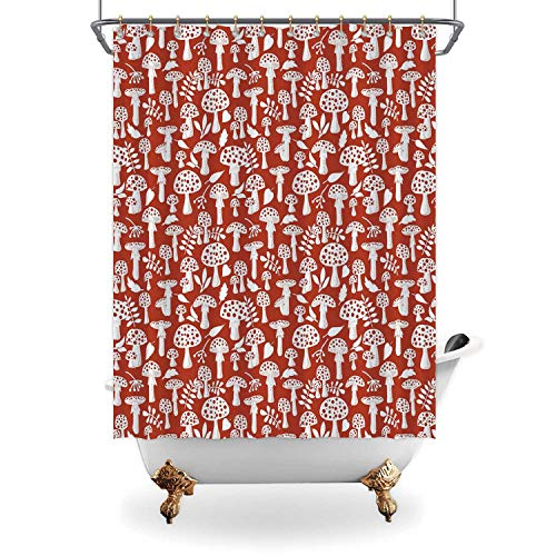 ALUONI Mushroom Shower Curtain,Cute Amanita Pattern with Leaves Berries Poisonous Plants Cartoon Style Decorative for Bathroom,65 in x 71 in (WxH)