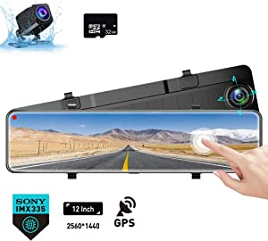 """Karsuite M9 12"""" Mirror Dash Cam 2560x1440P Backup Camera with GPS Touch Screen Front and Rear View Dual Lens Full HD WDR Night Vision, G-Sensor (Free 32GB SD Card Included) for Cars/Trucks"""