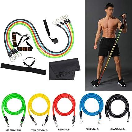 11pcs//set Fitness Resistance Tube Band Yoga Gym Stretch Pull Rope Exercise Train
