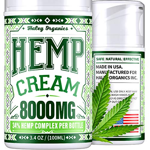 Pain Relief Cream with Hemp Oil - 8000 mg Extract - Arthritis, Back, Sciatica, Neck, Knee, Neuropathy Pain Relief - Safe to use with Arthritis Gloves, Back Massager, Knee Brace - USA Hemp Cream 3.4oz