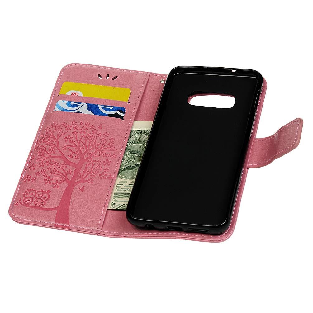 S10e Lederh/ülle Wallet Case f/ür Samsung Galaxy S10e Premium Handyh/ülle Flipcase St/änder Schutz Etui Schale Bookstyle Schutzh/ülle Magnetverschlu/ß Handschlaufe S/ü/ße Eule Grau