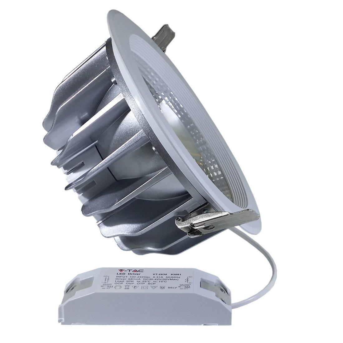 V-TAC 1164 45 45 45 W LED Einbaustrahler 230 V Natürliches Licht 4500 K 120 Grad Spot Reflector Rund Aussenmass Durchmesser 222 mm Einbaumasse Durchmesser 205 mm IP20 Gehäuse weiß VT-2645 6cc533