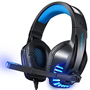 Gaming Headset with Mic for PS4, PC, Xbox One, Surround Sound Noise Cancelling Over Ear Headphones with Soft Memory Ear Pads, LED Light, Volume Control Compatible for Laptop Tablet Phone Games