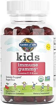 Garden of Life Kids Cherry Immune Vitamin C, D & Zinc60 Vegetarian Gummies