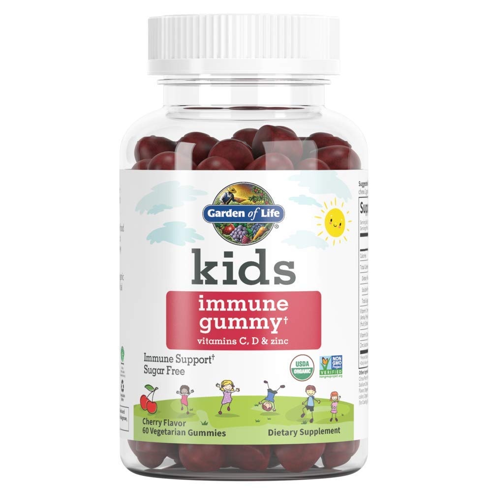 Garden of Life Kids Immune Gummy, Cherry Flavor - Vitamin C, D & Zinc Gummies for Immune Support - Sugar Free, Organic & Non-GMO Immunity Gummy Vitamins for Children, 60 Vegetarian Gummies