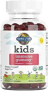 Garden of Life Kids Immune Gummy, Cherry Flavor - Vitamin C, D & Zinc Gummies for Immune Support - Sugar Free, Organic & Non-GMO Immunity Gummy Vitamins for Children, 60 Vegetarian Gummies
