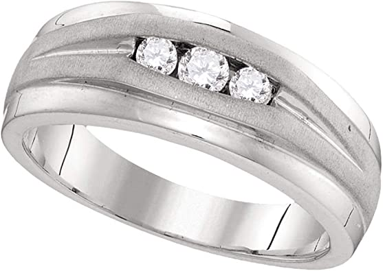 GemApex Mens Diamond Cross Wedding Band Solid 10k White Gold Band Religious Style Jesus Blessings 1//20 ctw