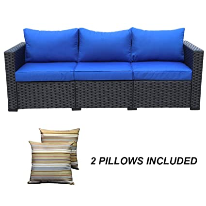 3-Seat Patio Wicker Sofa - Outdoor Rattan Couch Furniture w/Steel Frame and  Blue Cushion