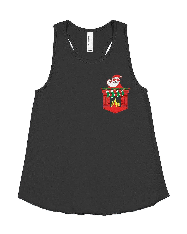 Threadrock Big Girls Santa Christmas Fireplace Fake Pocket Racerback Tank Top