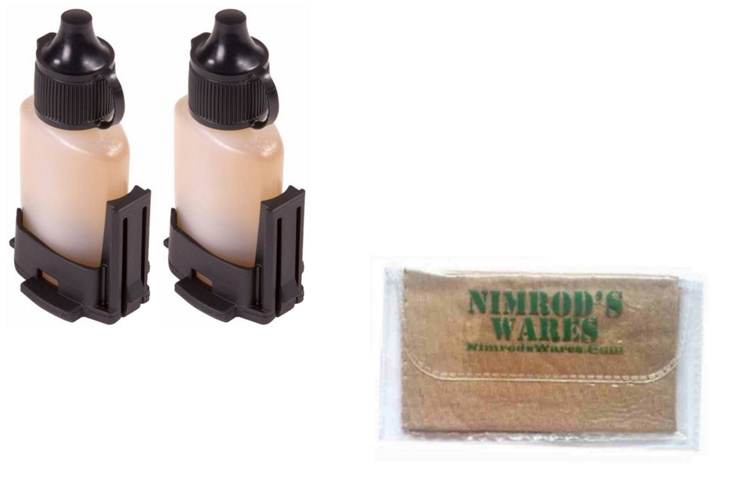 Magpul 2-Pack Grip Cores for 1/2 oz Lubrication Bottle MAG059-BLK + Nimrod's Wares Microfiber Cloth by Magpul