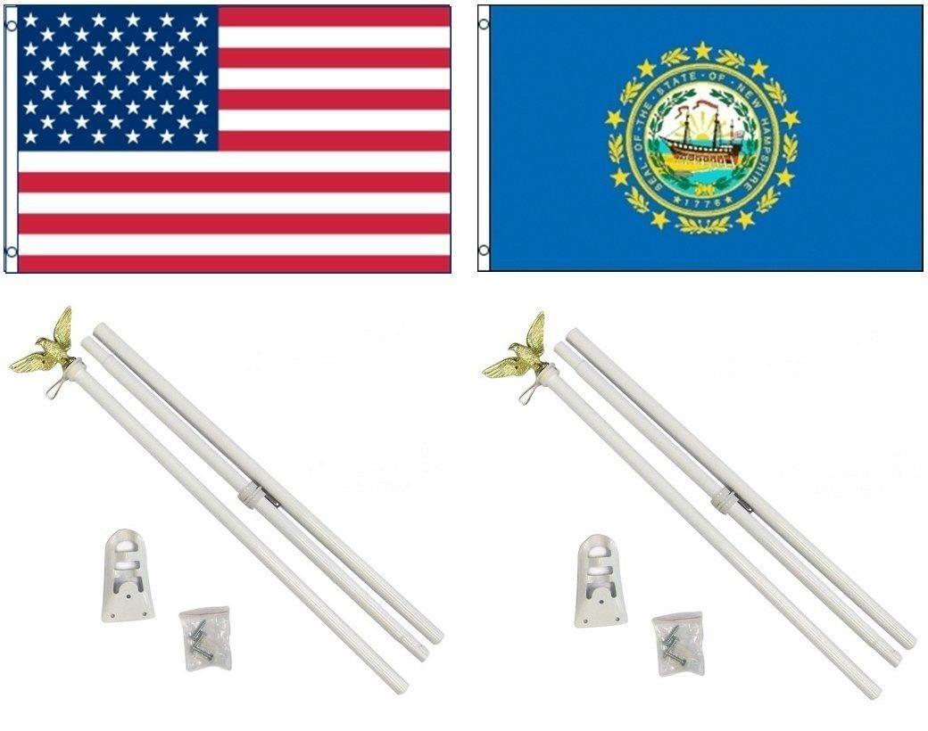 今季一番 3 W x 5 3 5 ' x5 ' USA ' American W/ニューハンプシャーの状態フラグW/ 2つ6 'ホワイト旗竿ポールキットEagleトッパー B01NCSRFJ3, いきいき健康館:2efc987a --- west-llc.com