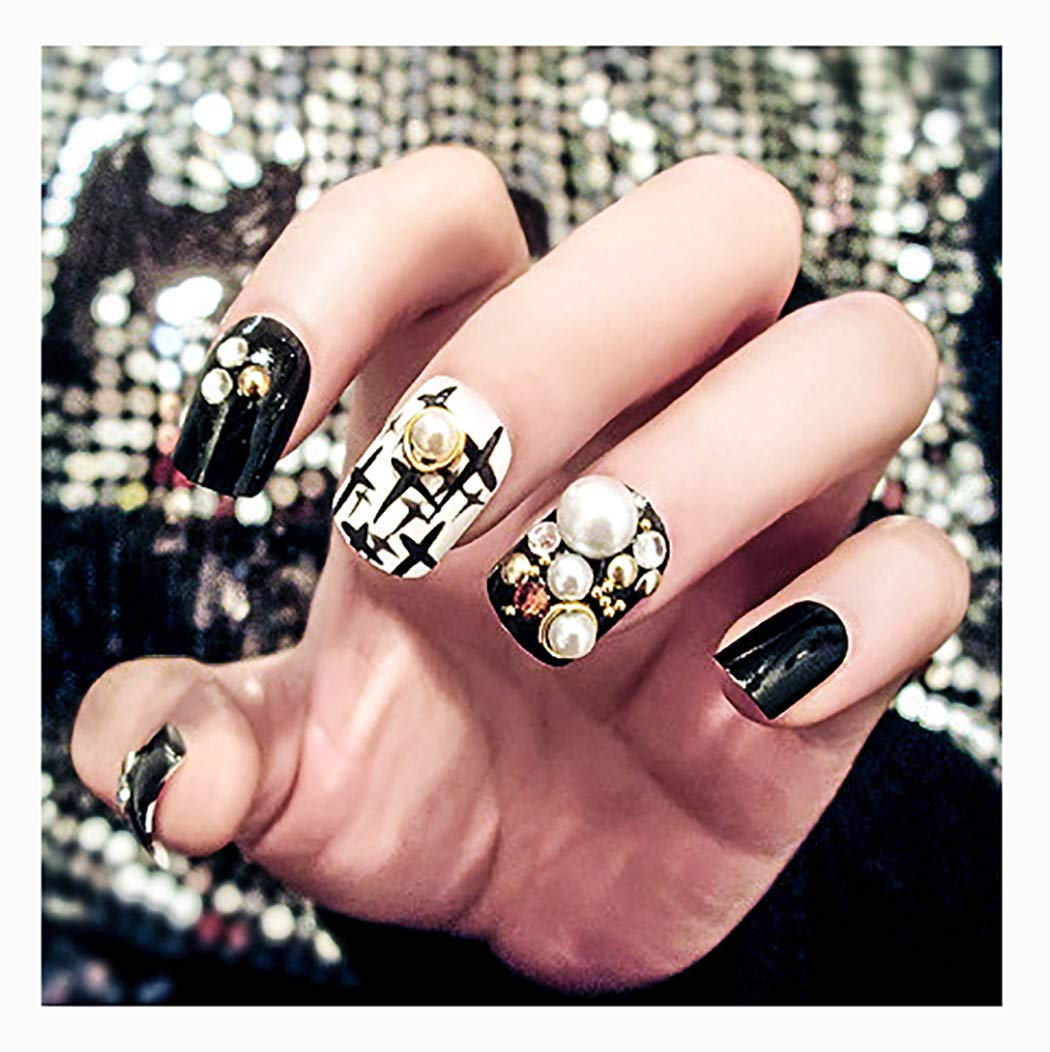 Fstrend 24Pcs Sparkly Crystal Pearls False Nails Full Cover Medium Ballerina Black Acrylic Fake Nails Rhinestones Party Prom Daily Clip on Nail for Women and Girls