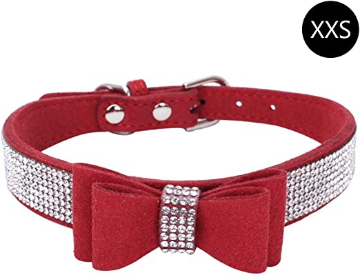 HOBOYER Collar para Mascotas, CTGVH Rhinestone Fibras de Cuero ...