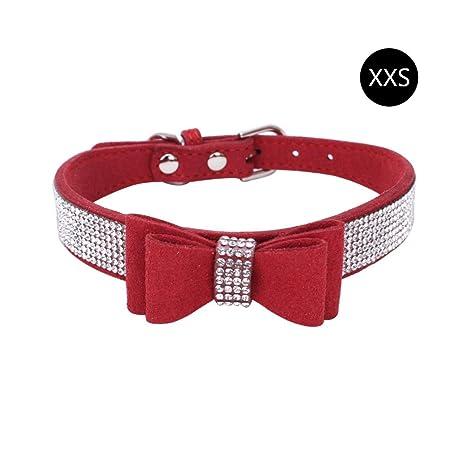 HOBOYER Collar para Mascotas, CTGVH Rhinestone Fibras de Cuero Perro Perro Gato Collar,Diamante
