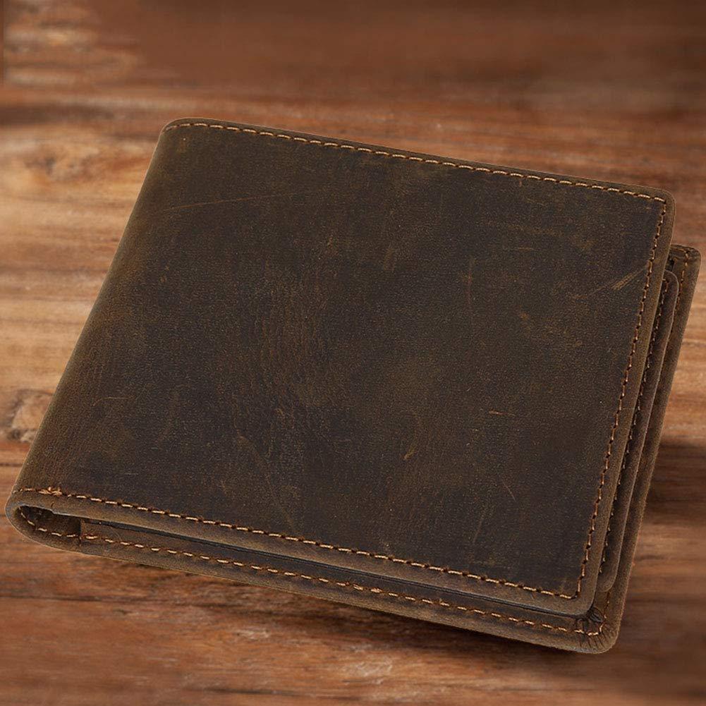 LWYJ Unisex Genuine Leather Wallet Card Holder Business Vintage Crazy Horse Leather Handmade Leisure Short Wallet Coin Pocket Purse