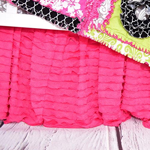 Hot Pink Ruffled Crib Skirts - Extra Long Dust Ruffle 3 Sided Baby Bedskirt for Girl Nursery Bedding (Skirt Crib Toddler)