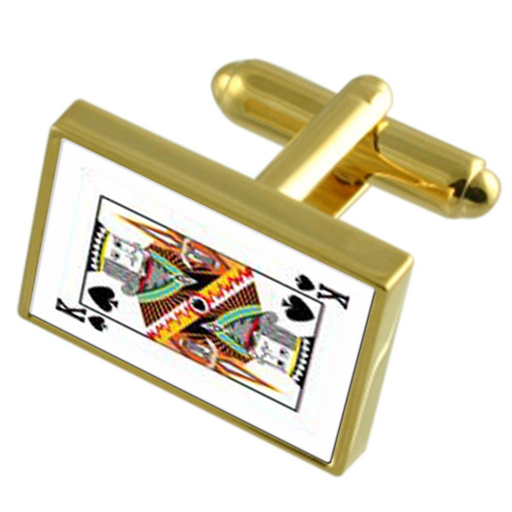 スペードカードキング Gold の遊び方 - トーン Cufflinks 刻まれたメッセージボックス   B0722SZ9FV