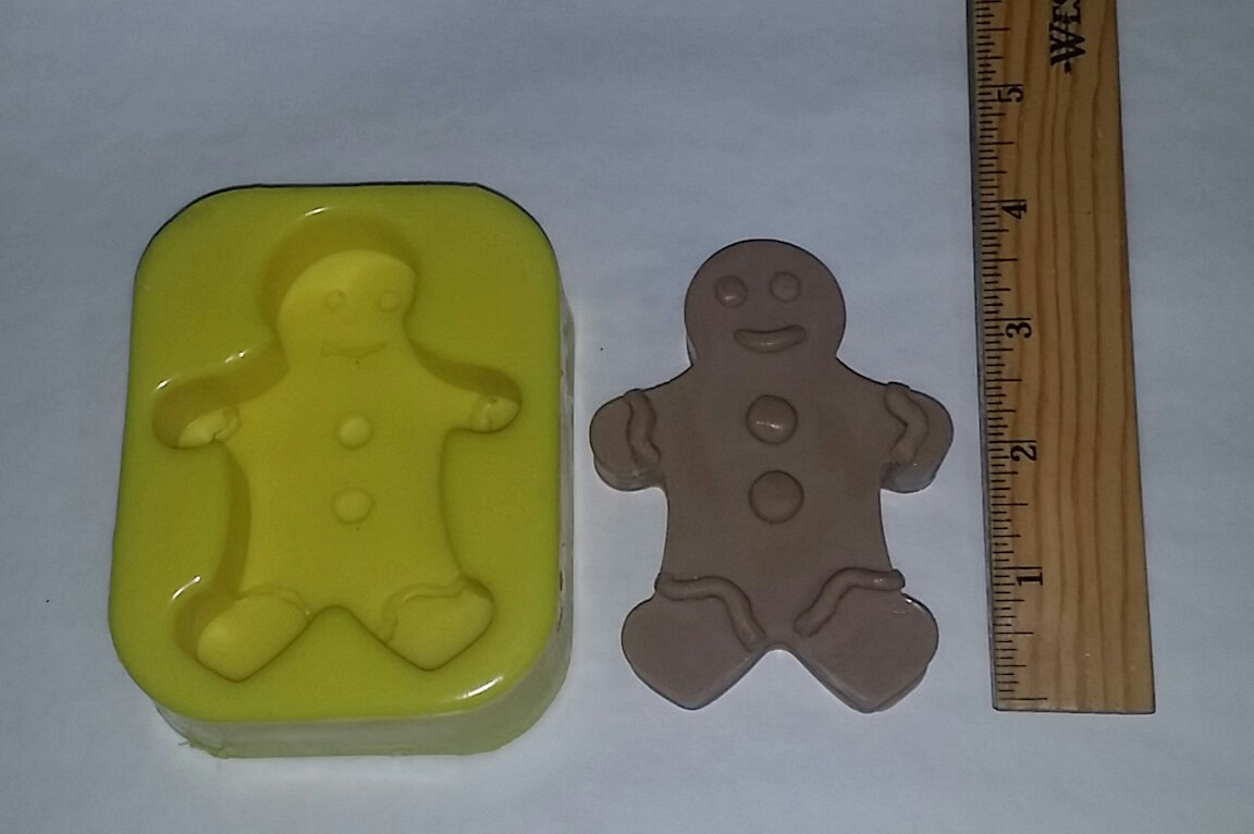 Thick Gingerbread Boy Soap Bar Mold FlexibleMolds