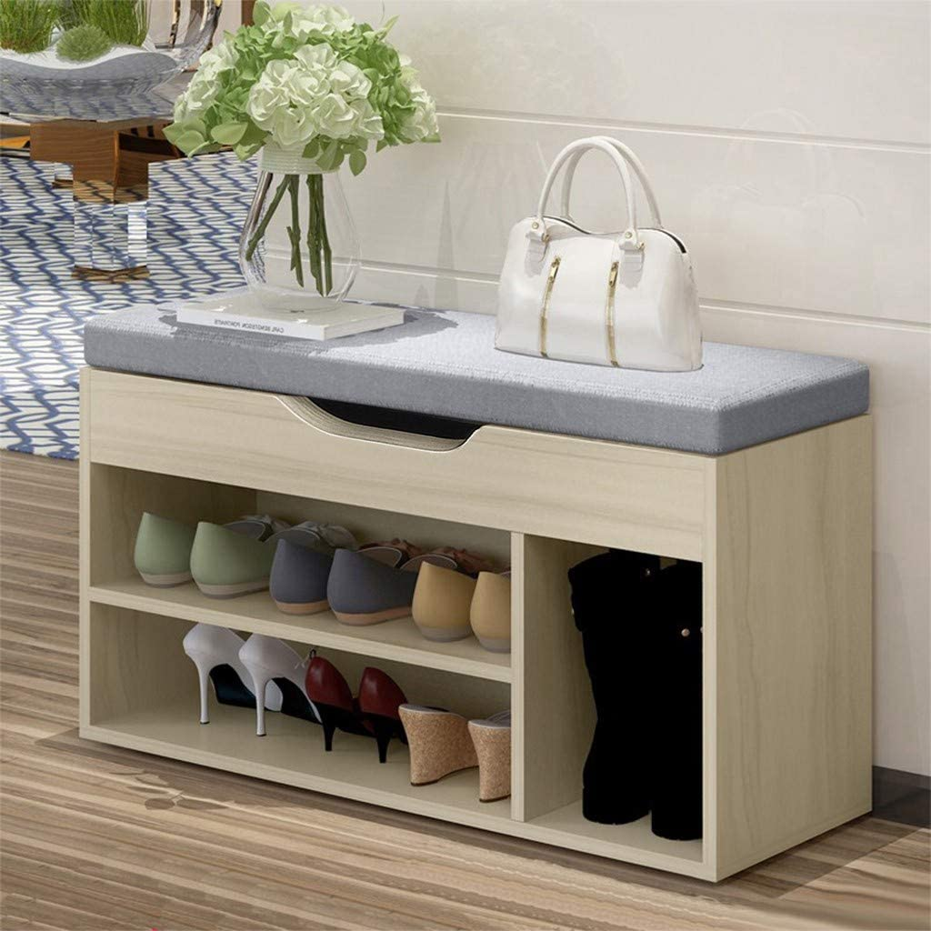 2 Tiers Storage Organizer Shoe Shelves Industrial Stand End Bed Stool for Hallway Bedroom Living Room Corridor for Space Saving Shoe Bench Rack with Seat