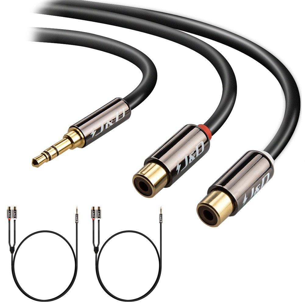 J/&D Chapado en Oro 3.5mm Hembra a 2 RCA Macho Cable de Adaptador de Audio Est/éreo 1.8m 2-Pack