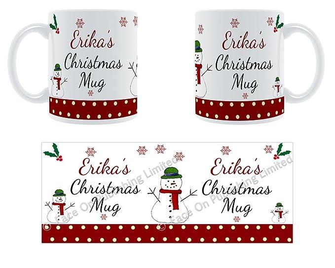 Taza de navidad de Erika - nombre de cerámica taza personaliseitonline: Amazon.es: Hogar
