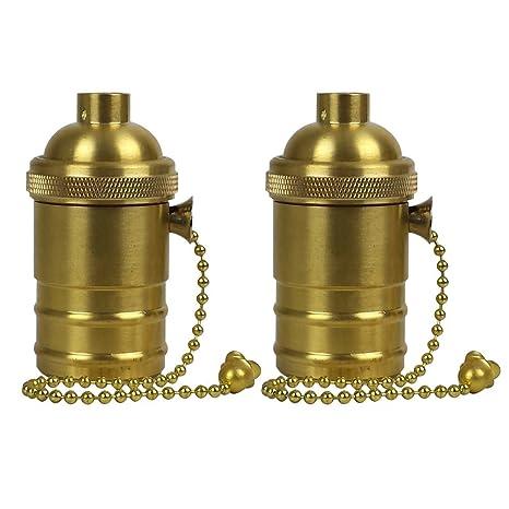 Generic 2 unidades cobre/off tirador en latón cadena Diy enchufe, E26/E27