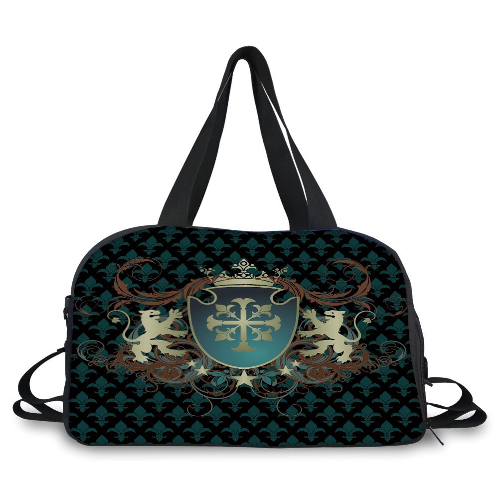 iPrint Travel handbag,Medieval,Heraldic Design of a Middle Ages Coat of Arms Cross Crown Lions Swirls Decorative,Teal Black Cinnamon ,Personalized