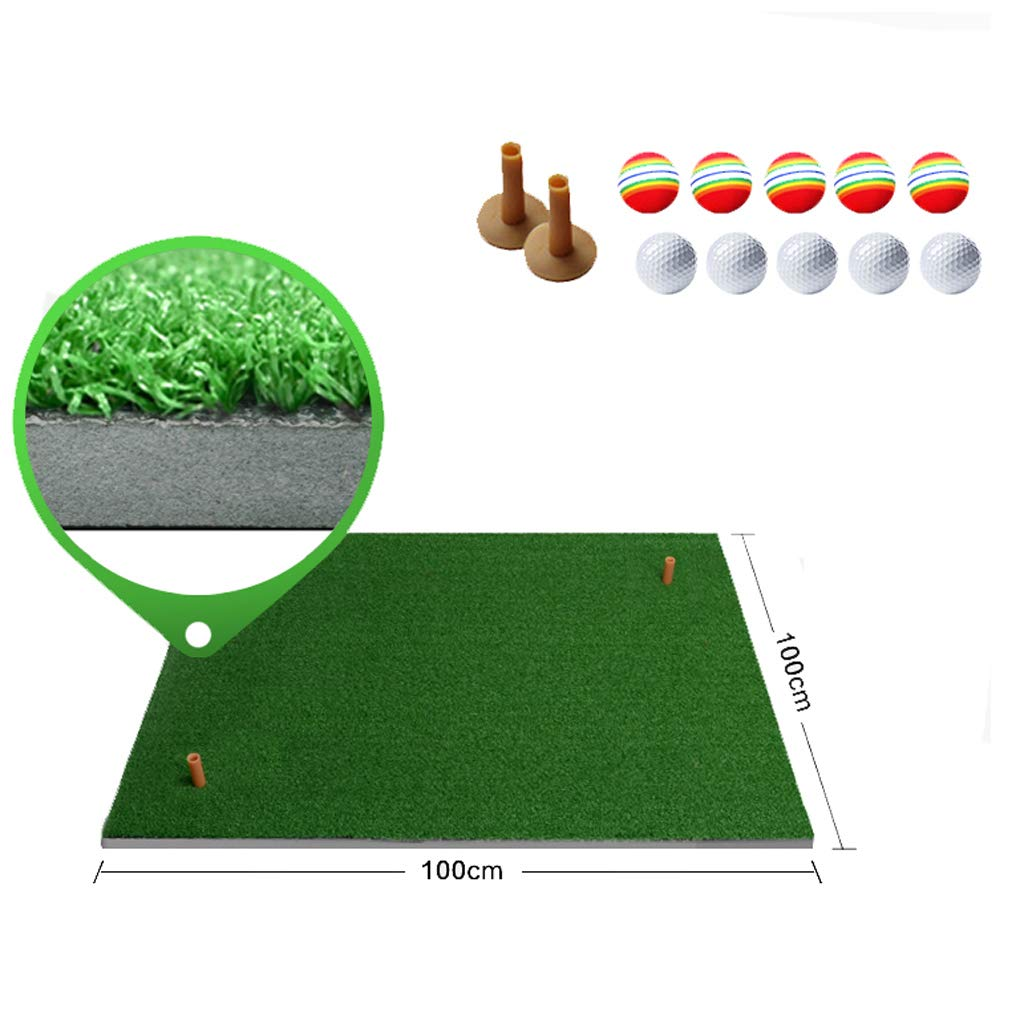 Lxn 取り外し可能なゴム製ティーホルダーが付いているゴルフマットの住宅の練習の打撃の草のマット、家の裏庭のガレージの屋外の練習(2つの自由なゴム製ティーと10のゴルフボールを含みます) 100×150×2cm  B07RWLXRRD