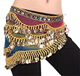 ZYZF Profession Flannel Belly Dance Hip Scarf with Gold Coins Colorful Gem Belt