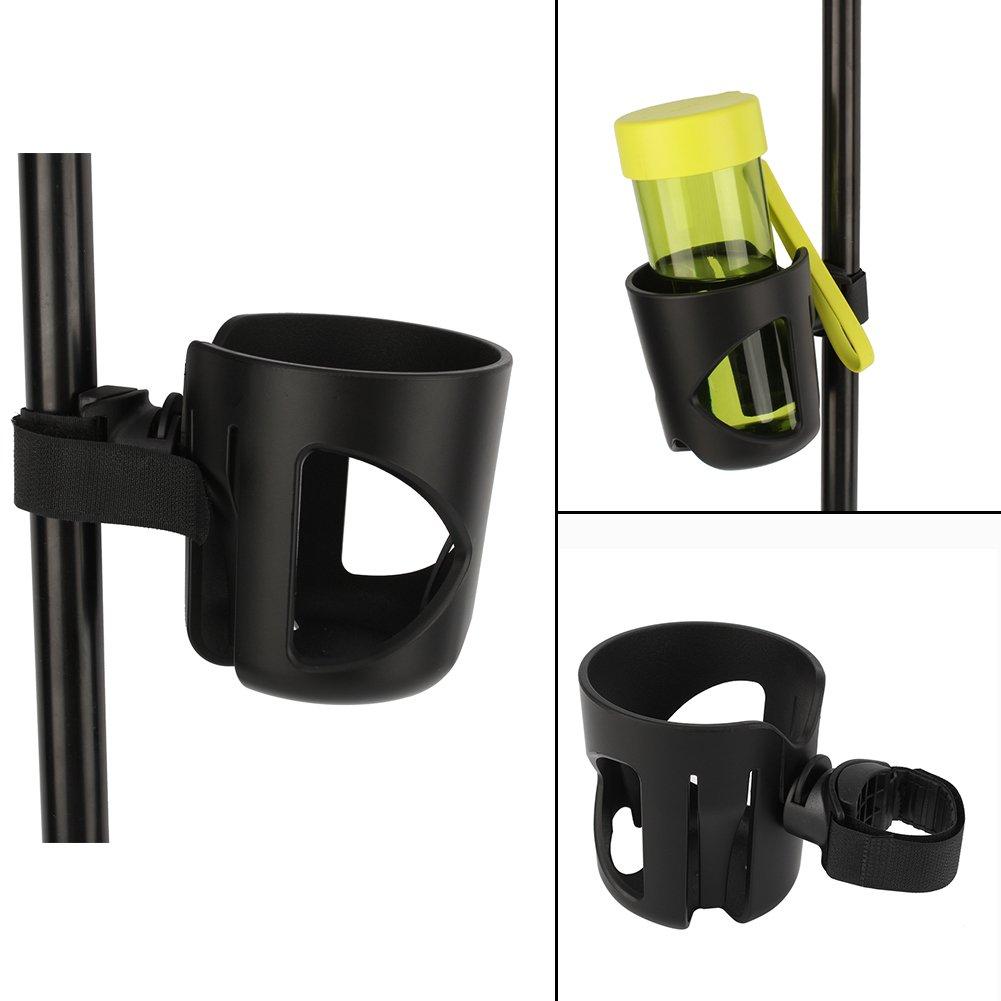 Yosoo Universal Adjustable Baby Stroller Cup Water Bottle Holder Rack Wheelchair Bike Bicycle Bottle Rack Carabiner Clip Hanger