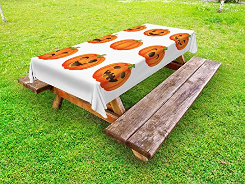 Lunarable Pumpkin Outdoor Tablecloth, Jack O Lanterns with Various Face Expressions Winking Smiling Sad Surprised Image, Decorative Washable Picnic Table Cloth, 58