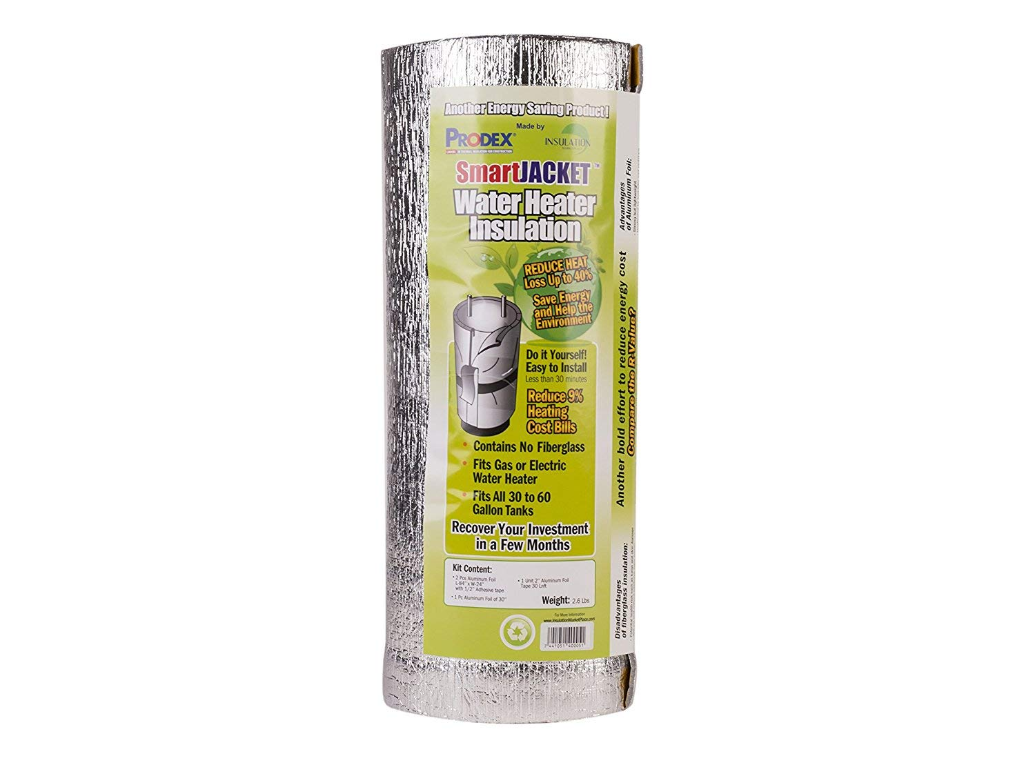 """Water Heater Blanket Insulation, """"NON FIBERGLASS"""", Fits up to 80 Gallons, Energy Star Certified, Satisfaction Guaranteed"""