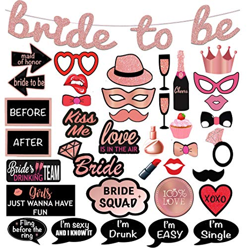 Bridal Shower Photo Booth Props. 38-Pc Pink Rose Bachelorette Party Decorations 1-of-a-Kind Design Includes: Glitter Banner, 37 Photo Props. Perfect for Bridal Party by Scapa Pro]()
